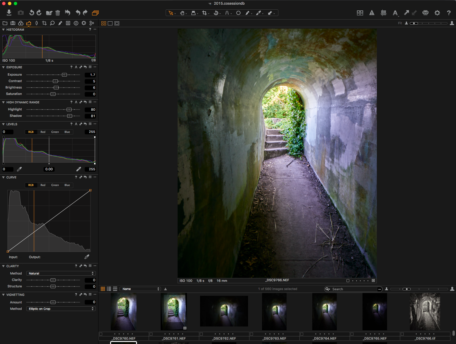 "Capture One 8.3.3 preparing ""Tunnel's End""."
